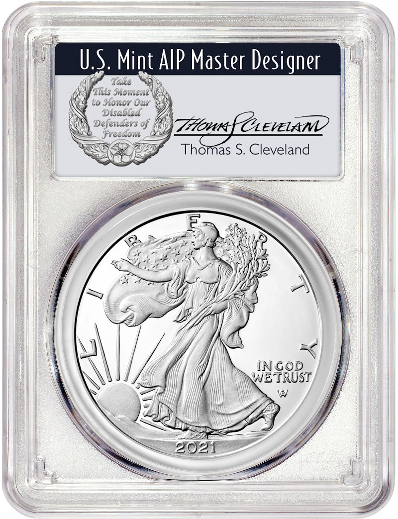 2021 Type 2 American Silver Eagle FDI PCGS MS70 Thomas Cleveland Signed